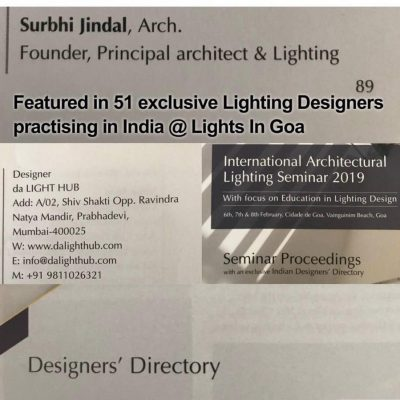 Listed in top 50 Lighting Designers